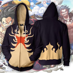PIRATE KING MONKEY D LUFFY GEAR 4 ZIP UP HOODIE - ONE PIECE JACKET - Hoodielovers
