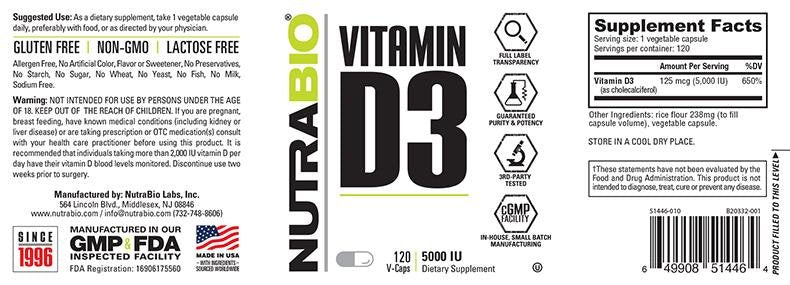 Load image into Gallery viewer, Vitamin D (5000 IU) 120 Vegetable Capsules