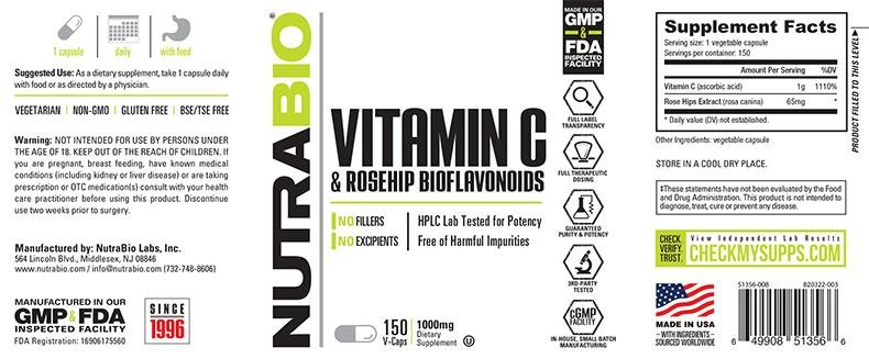 Vitamin C 1000mg with Rose Hips 150 Vegetable Capsules