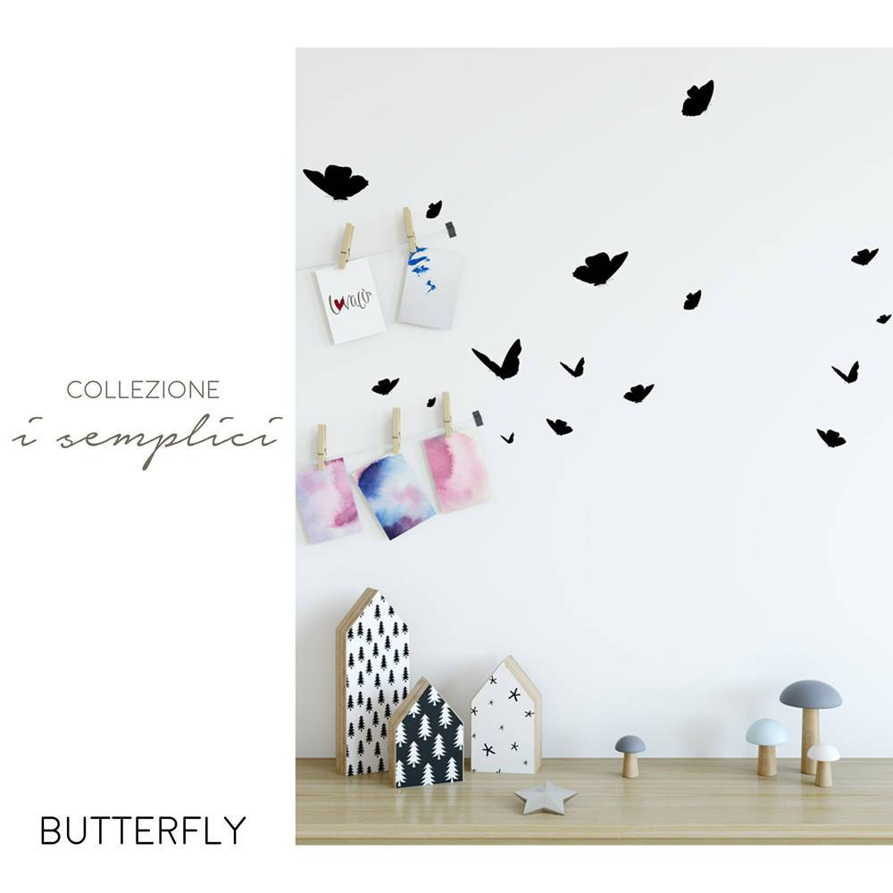 30 Stickers Butterflies - Wall Decal for Child Rooms Peel & Stick - LovaluDesign