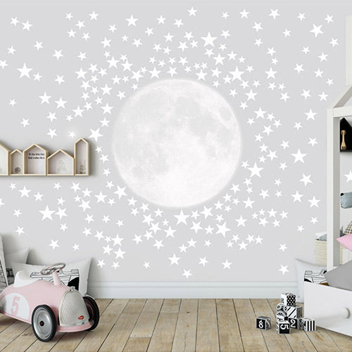 Moon with 300 Stars Wall Decal Peel & Stick
