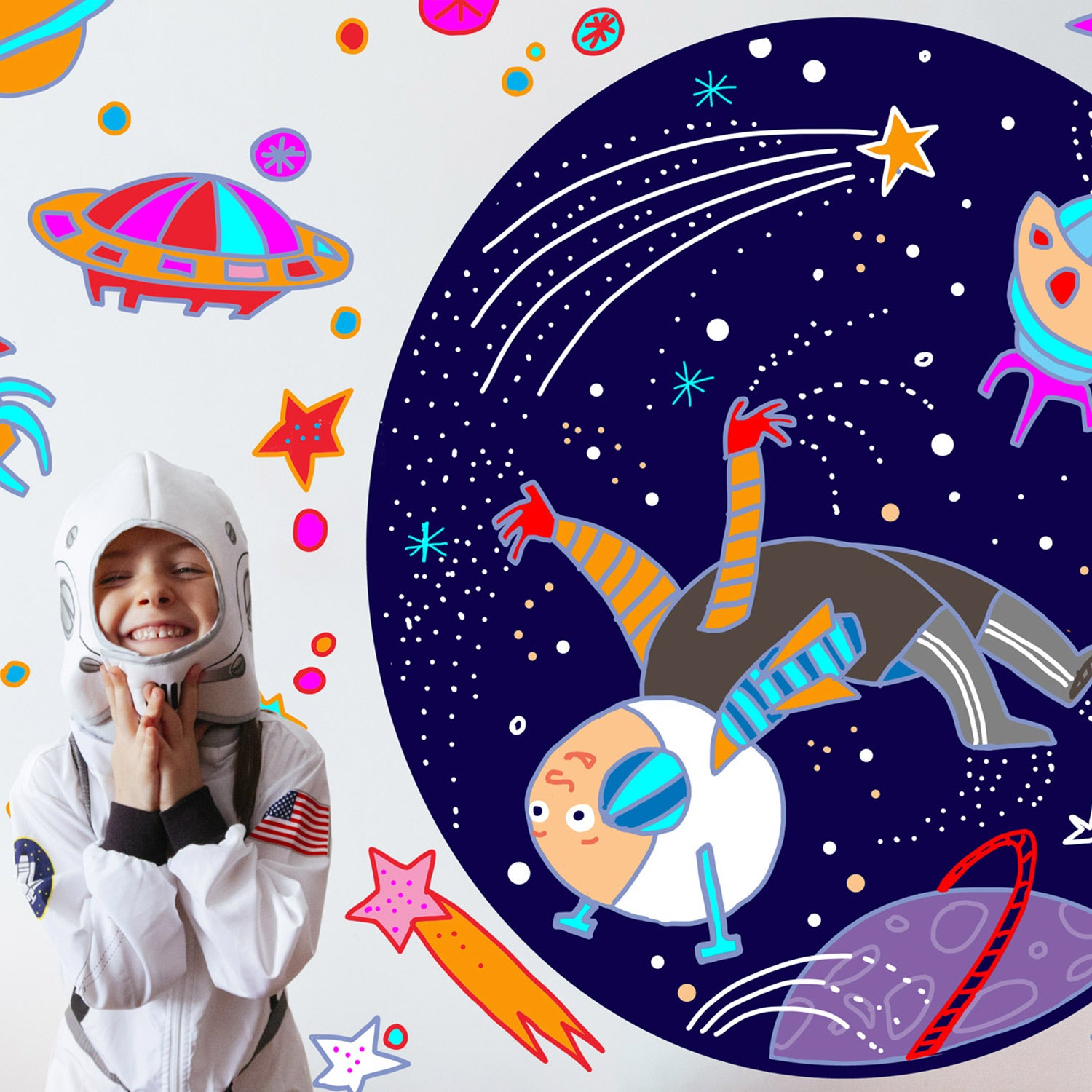 Space Rocket Wall Stickers for children's room