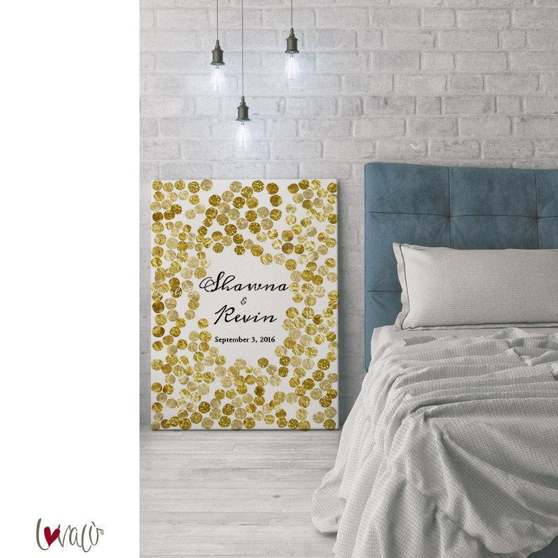 Alternative Guest Book Confetti for wedding in gold - LovaluDesign