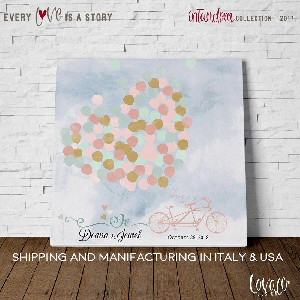 Alternative wedding guest book, tandem with heart balloons gray and pink - LovaluDesign