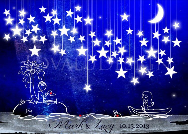 Alternative wedding Guestbook couple in love in the sea under the stars on canvas 65 signature. Available with the number of stars you want. - LovaluDesign
