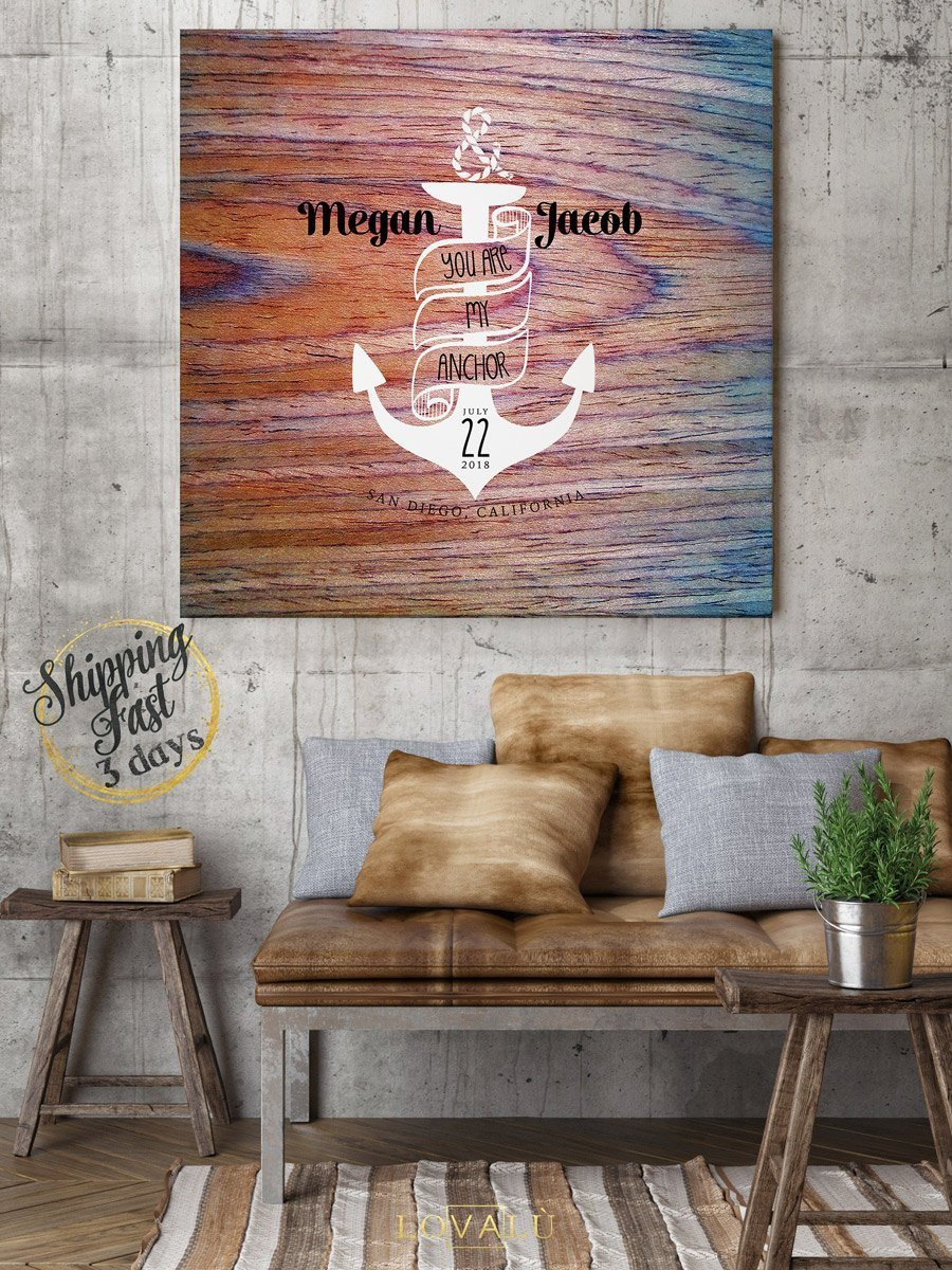Anchor wedding guest book. Nautical theme. Marine guest book idea - Canvas wedding guest - High quality wood graphics printed on canvas - LovaluDesign