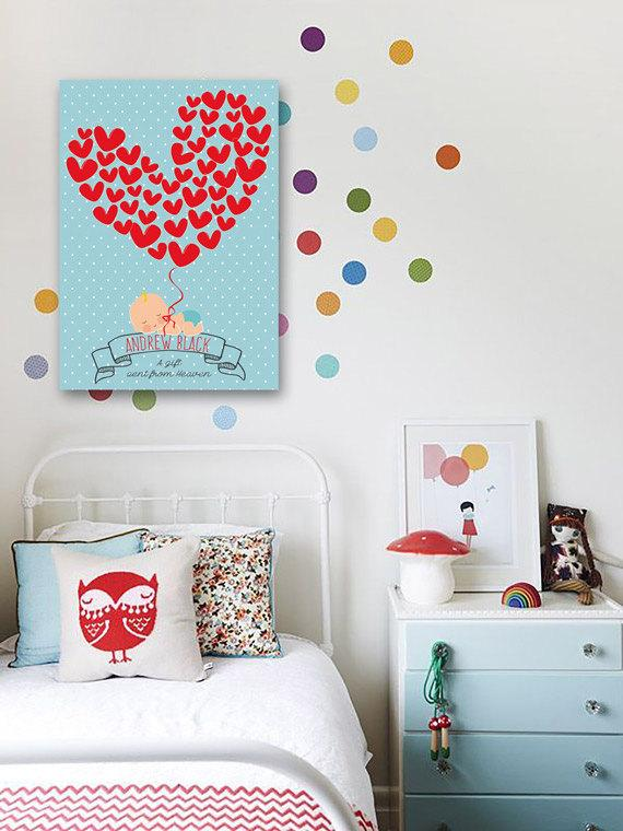 Baby shower baby with hearts Guestbook on canvas. Custom you guest book. - LovaluDesign