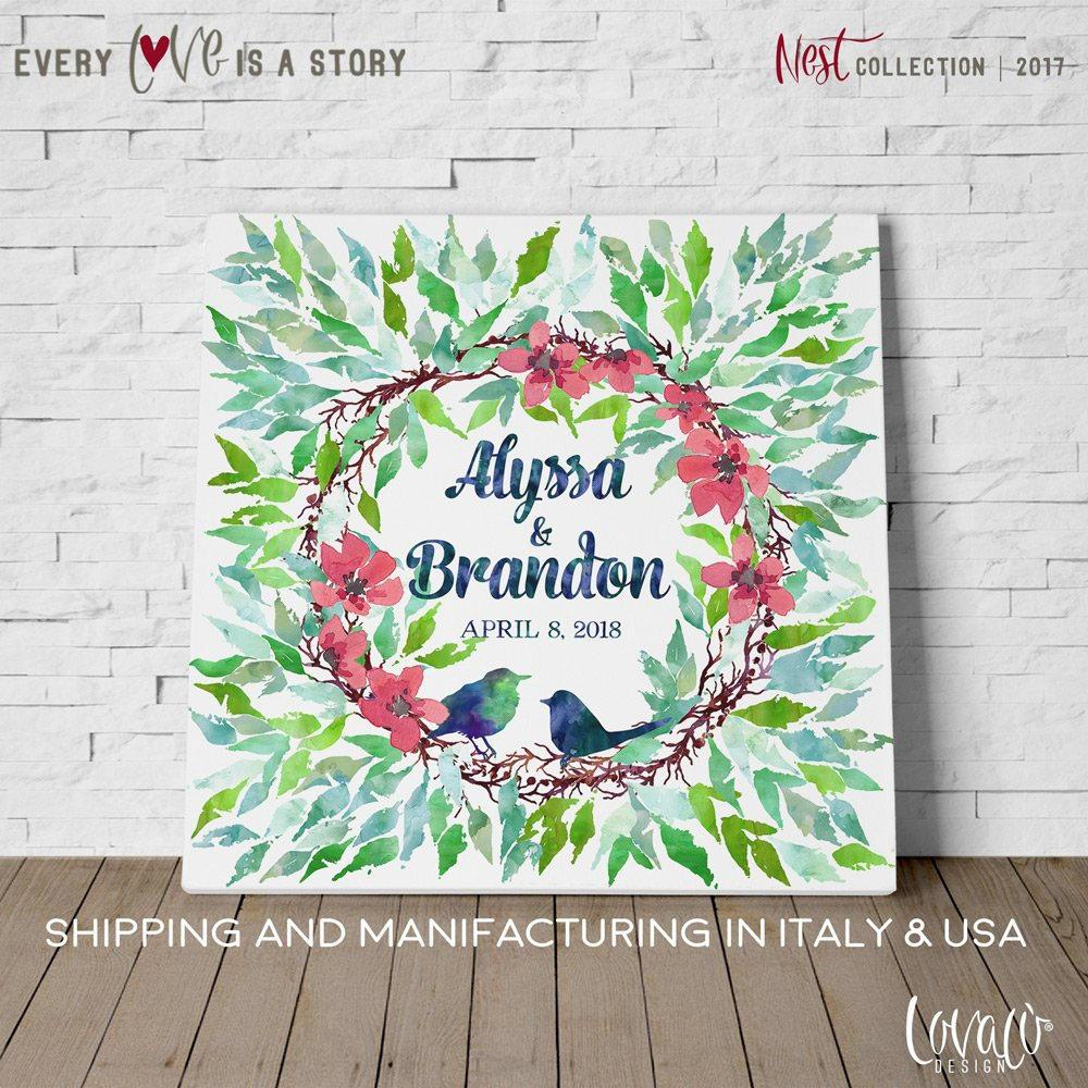 Blue Gray Wedding - wedding birds in love tree - wedding guest book - unique wedding guestbook - Flower Guestbook wedding - guest book ideas - LovaluDesign