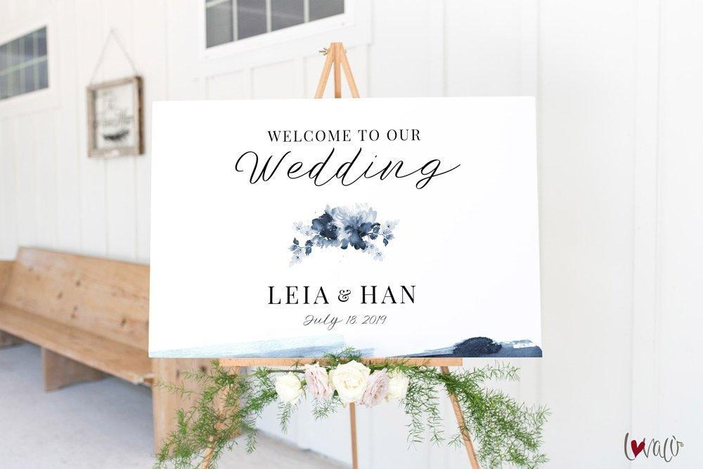 Blue indigo wedding welcome sign Template, Printable Wedding Welcome Sign Template, blooms watercolor Wedding Calligraphy | Edit in Templett - LovaluDesign