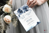Blue sapphire Wedding Invitation Template, Indigo Printable Wedding Invitation Suite, watercolor Wedding, Calligraphy | Edit in Templett - LovaluDesign