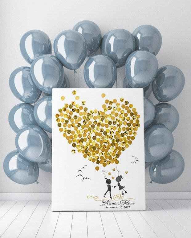 Boho Wedding Guest Book Alternative gold, Couple Portrait Guest Book, Balloon Guest Book Canvas, Wedding Guest Sign In Balloons - LovaluDesign