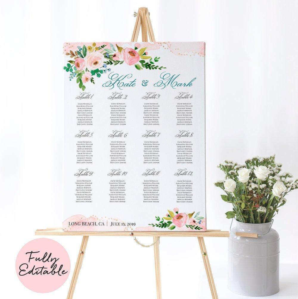 Boho Wedding Seating Chart 12 tables 18x24, Pink Floral seating chart Printable, Blush Florals Seating chart, Editable seating chart - LovaluDesign
