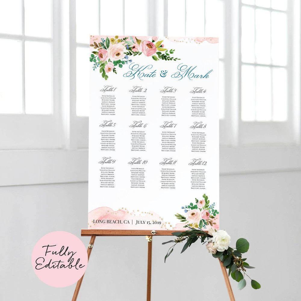 Boho Wedding Seating Chart 12 tables 24x36, Pink Floral seating chart Printable, Blush Florals Seating chart, Editable seating chart - LovaluDesign