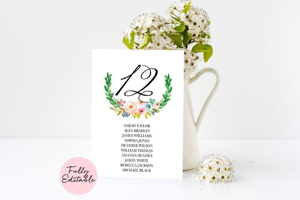 Boho Wedding Table Number Template5x7 & 4x6, Pink Floral Number Printable, Blush Florals Number, Editable Numbers, Fully Editable Text - LovaluDesign