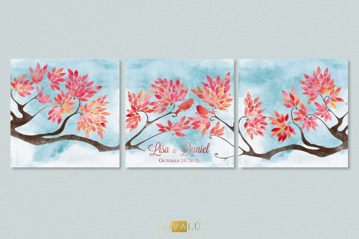 Branches with birds wedding Guestbook - watercolor guest book wedding - 200 signatures - blue - LovaluDesign