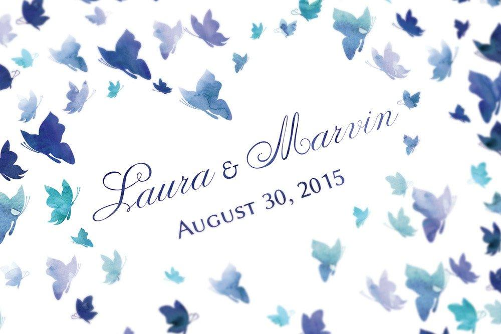 Butterfly wedding Guestbook - watercolor guest book wedding - 200 signatures - blue - LovaluDesign