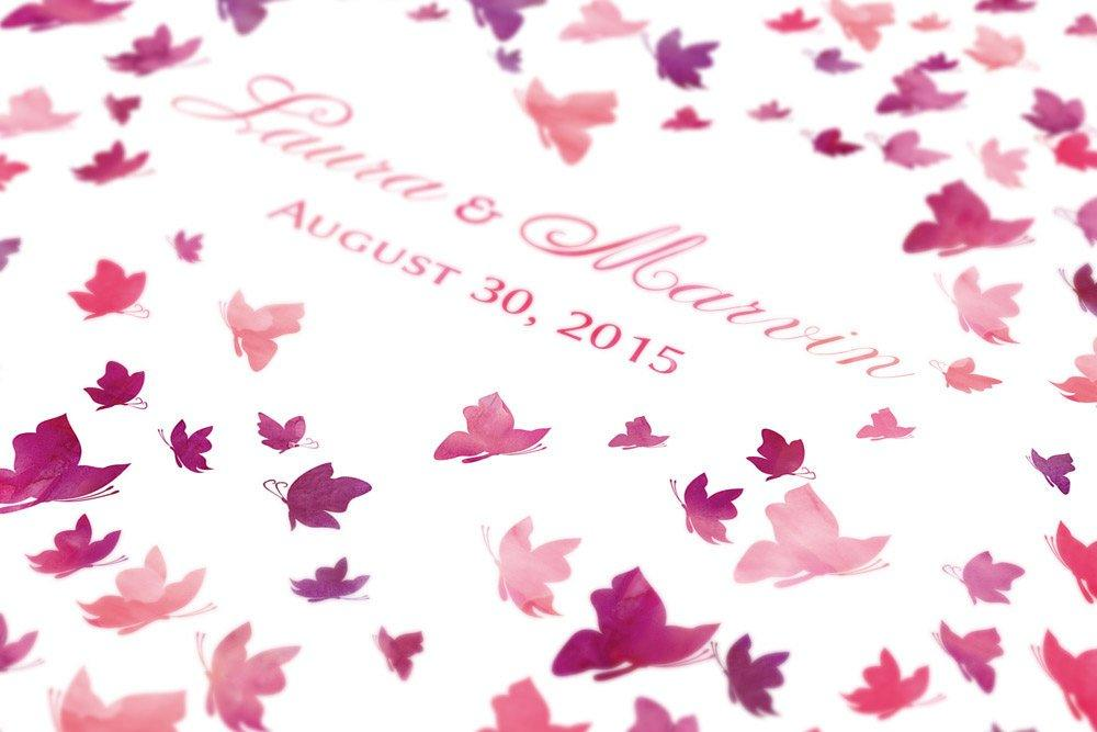 Butterfly wedding Guestbook - watercolor guest book wedding - 200 signatures - pink - LovaluDesign