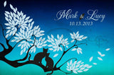 Custom Alternative wedding Guestbook tree on canvas 150 sign with cats in love. Colour background night blue. Choose your colours. - LovaluDesign
