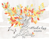 Custom Alternative wedding Guestbook tree watercolor on canvas with sparrows 150 rust desert leaves. It's possibie only in pdf - LovaluDesign