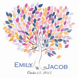 Custom Alternative wedding Guestbook watercolor tree on canvas 200 sign. Colour orange blue pink. Choose your colours you can only have pdf - LovaluDesign