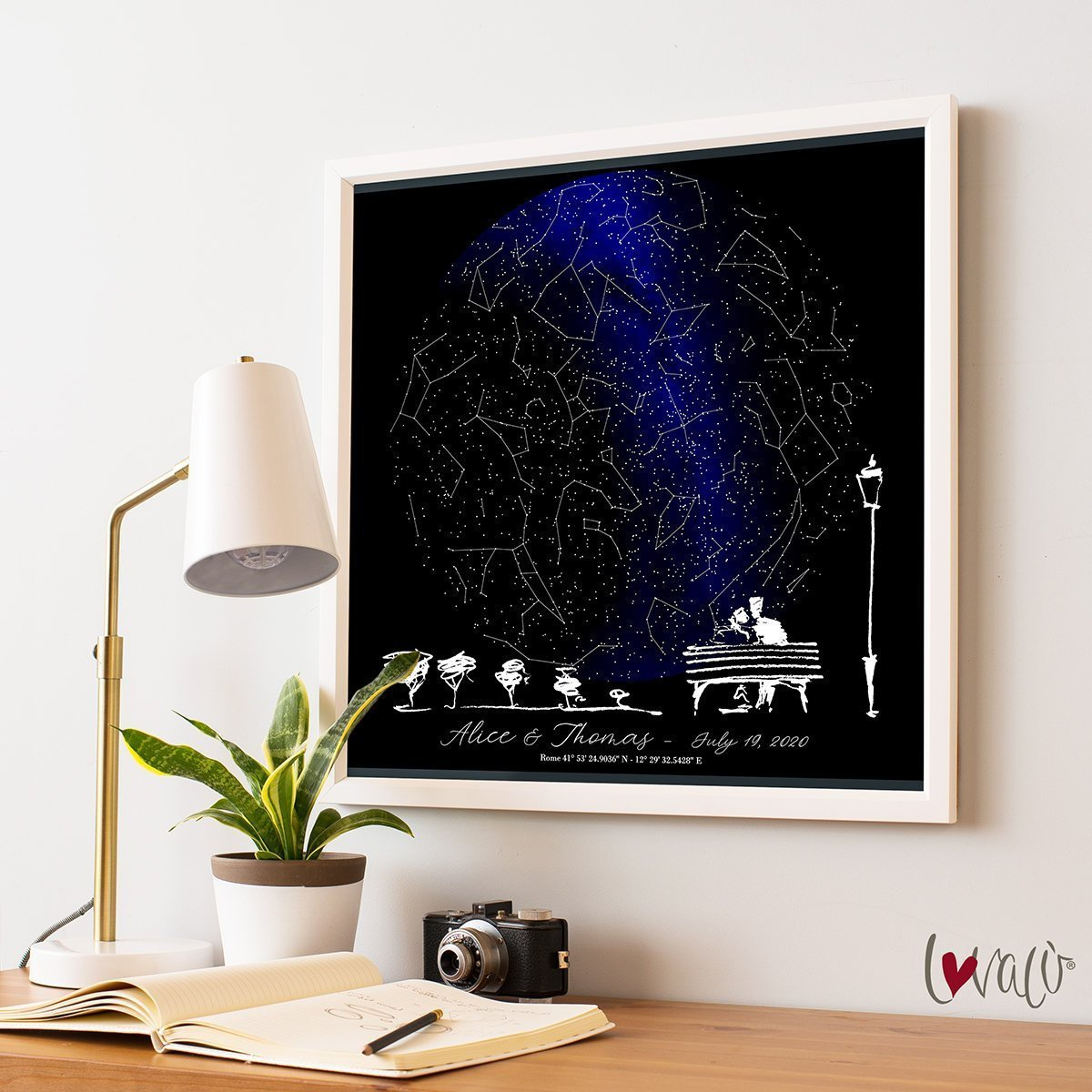 Custom Star Map, Night Sky Print, Star Map Poster, Wedding Gift, Constellation, Wedding Anniversary Gift, Personalized Gift, Engagement Gift - LovaluDesign