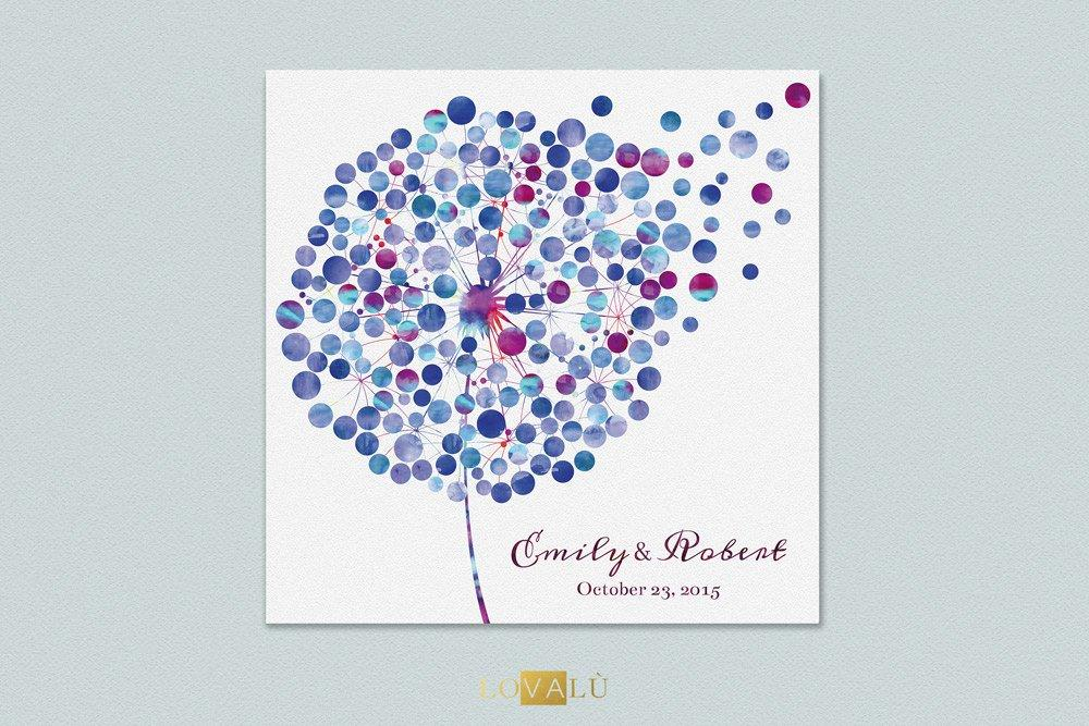 Custom wedding Guestbook dandelion - tarassaco watercolor guest book wedding - canvas 200 signatures - Choose your colours - LovaluDesign