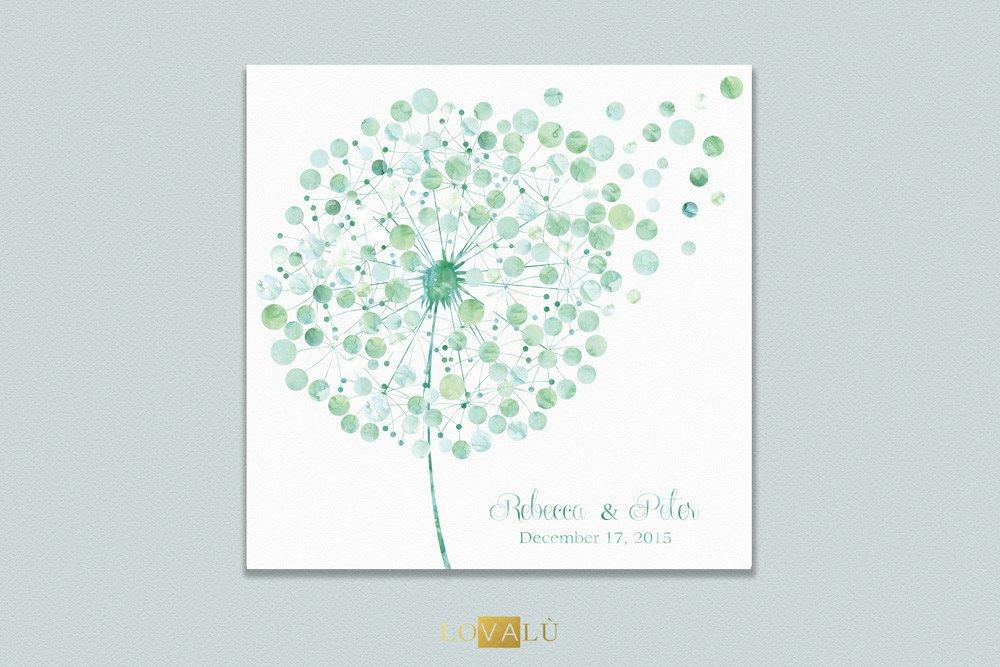 Custom wedding Guestbook dandelion tarassaco watercolor guest book wedding Floral guest book Signature Guest book Bridal shower gift Unique - LovaluDesign