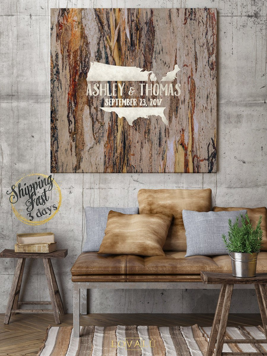 Custom wedding guestbook, Rustic guest book idea, Wood Canvas wedding guest, High quality wood graphics printed on canvas - LovaluDesign