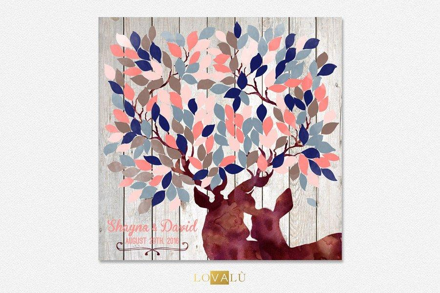 Deer Guest Book alternative navy blue pink grey, Wedding Guest Book Canvas stag doe, Wood Guest Book for 200 Guests - Rustic Wedding idea - LovaluDesign