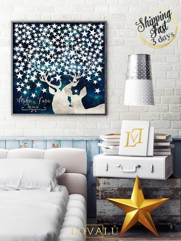 Deer head guest book tree under the stars blue and white. Customizable print paper or canvas - LovaluDesign