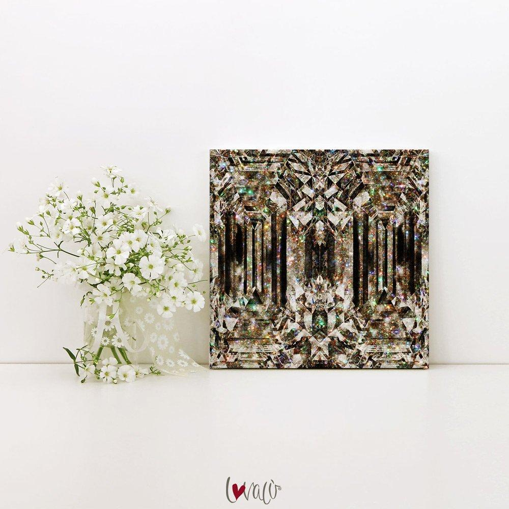 Diamond gold Fashion Wall Art print on canvas. - LovaluDesign