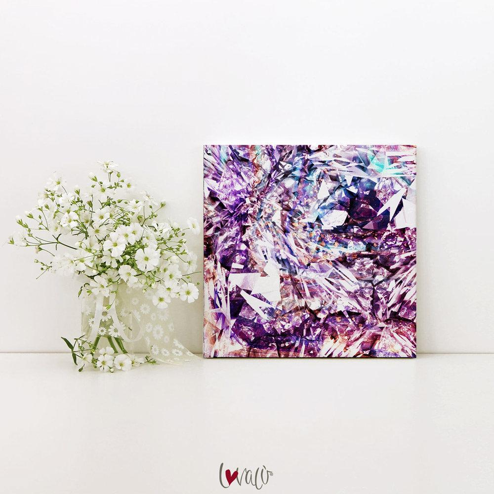 Diamond pink purple Wall Art print on canvas. - LovaluDesign