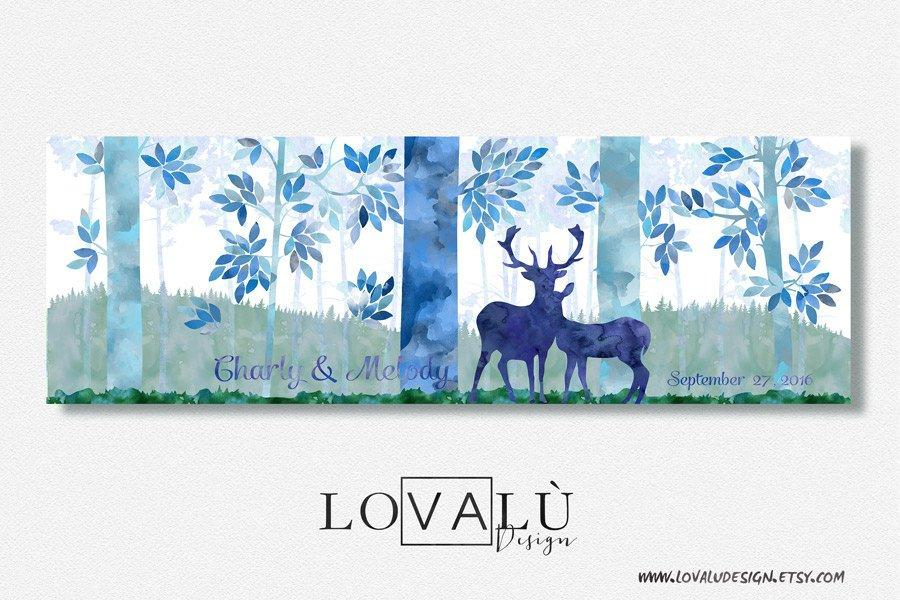 Fairy Tales alternative Wedding guest book with deers on canvas. - LovaluDesign