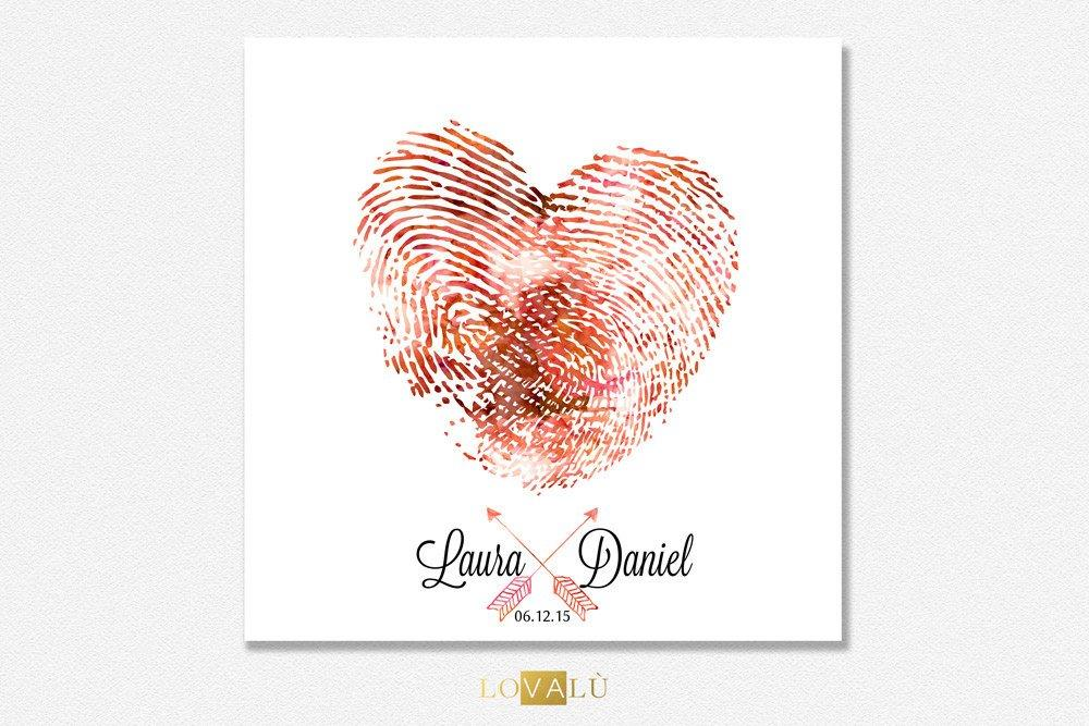 Fingerprint wedding guestbook. Thumbprint guest book heart. Thumbprint guestbook alternative heart. Thumb print unique guestbook - LovaluDesign