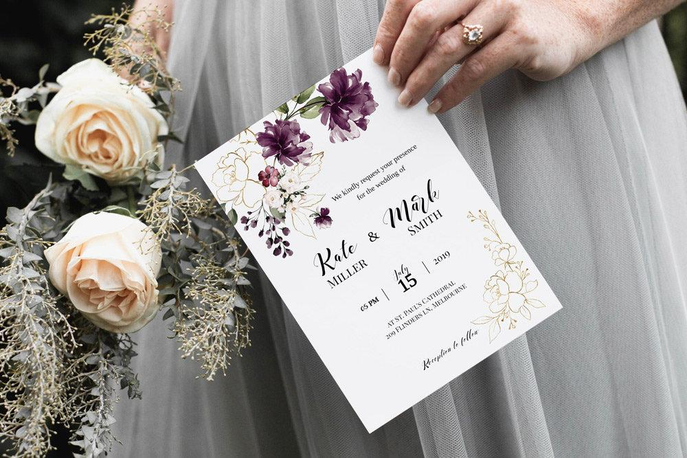 Floral purple Wedding Invitation Template, Gold Printable Wedding Invitation Suite, watercolor Wedding, Calligraphy | Edit in Templett - LovaluDesign