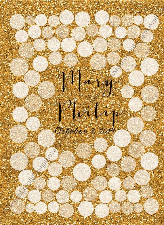 Glitter Sparkle Wedding Guestbook gold nuanced circles print on canvas100 signatures. Choose your number of circles - LovaluDesign