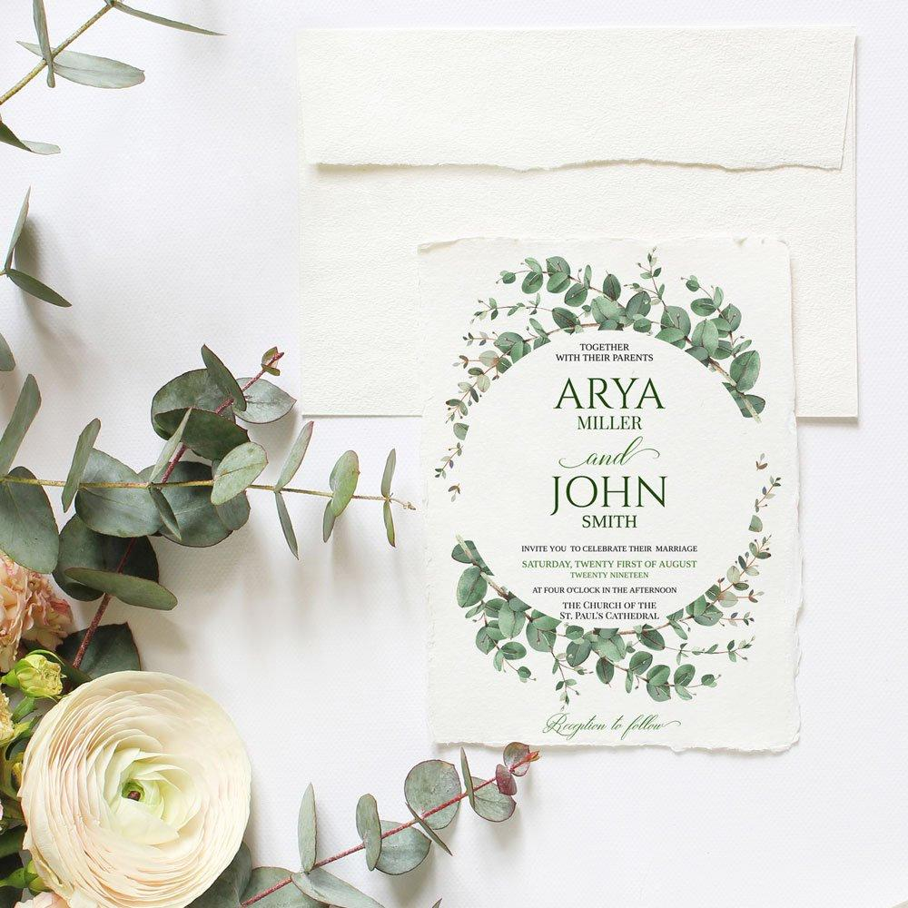 Greenery Wedding Invitation Template, Printable Invite, RSVP and Details, INSTANT DOWNLOAD, Editable Text DiY Boho Wreath | Edit in Templett - LovaluDesign