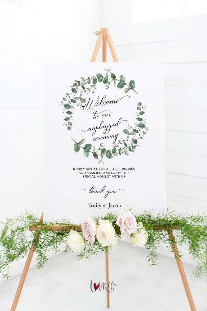 Greenery Wedding Unplugged Ceremony Sign, Turn off Phones and Cameras, Wedding Template, Unplugged Wedding, PDF Instant Download - LovaluDesign