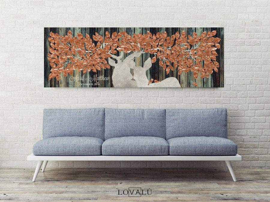 Guest Book Alternative on canvas - Guest Book Print - Wedding Rustic Sign Print - Guestbook Deer Print - Keepsake Gift - Copper & white - LovaluDesign