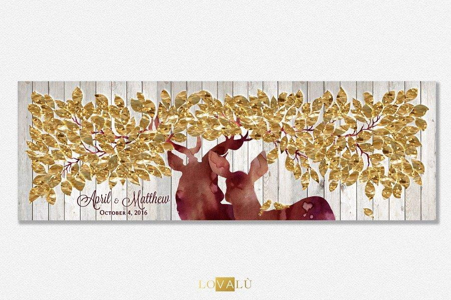 Guest Book Alternative on canvas - Guest Book Print - Wedding Rustic Sign Print - Guestbook Deer Print - Keepsake Gift - Plum Violet Orchid - LovaluDesign