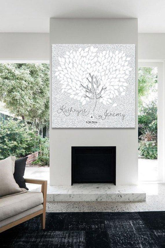 Guest book alternative tree silver glitter, Sparkle guest book, glitter guest book, Wedding Guest Book Alternative sign, guestbook - LovaluDesign
