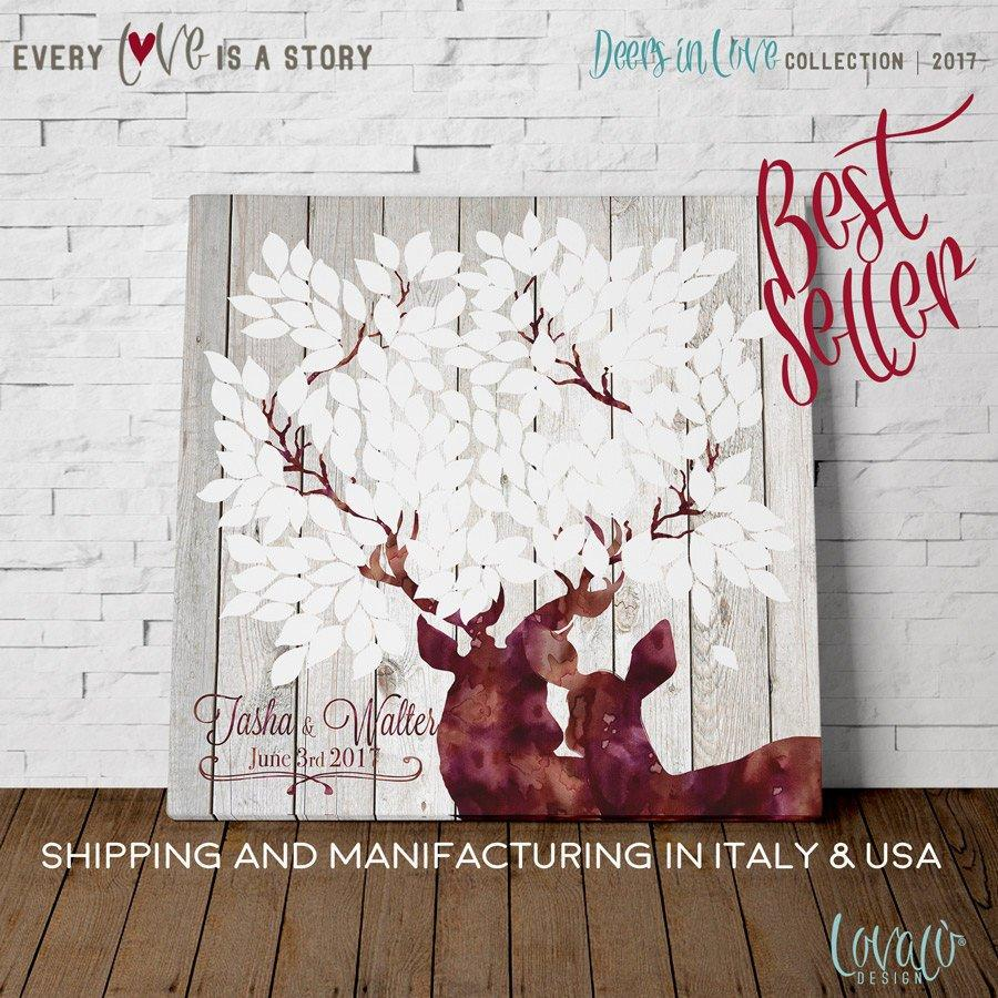 Guest book wedding alternative deer white, Rustic wedding signs, White Winter wedding theme. Guest Book Wishes tree Canvas Christmas - LovaluDesign