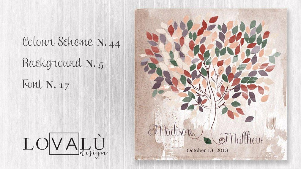 GuestBook Tree Wedding watercolor terracotta, purple, green 200 Leaves. Print on canvas. Choose your colours and number leaves - LovaluDesign