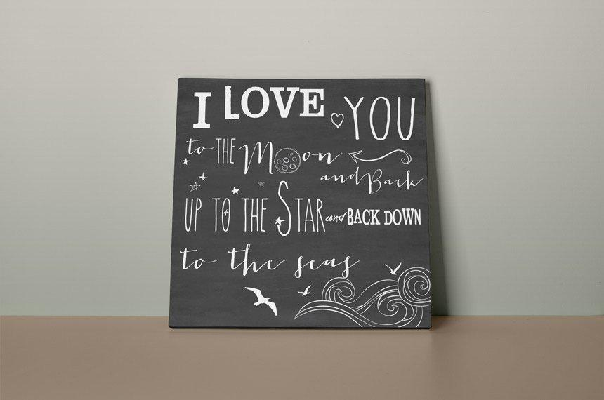 I love you to the moon, 3 Modern prints on canvas 50-70 guest sign. Alternative Art Print guestbook with monogram heart Black red and white - LovaluDesign