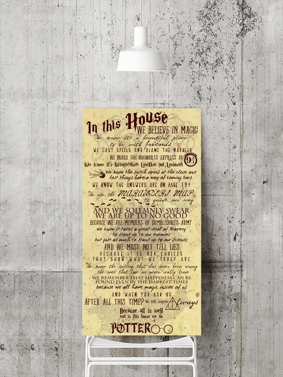 In This House... we believe in magic - Harry Potter Quotes - LovaluDesign