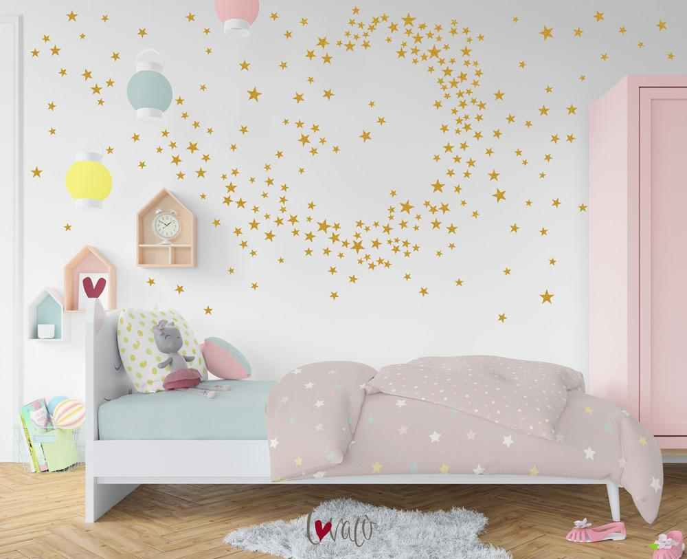 Little Stars Wall Decal for Nursery Children's Rooms, Bedroom Wallpaper Peel & Stick - LovaluDesign