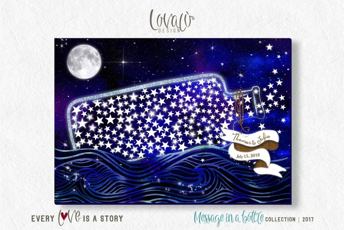 Message In A Bottle Wedding guest book alternative Wishing stars sign Wedding Stars Guest Book Alternative Unique Wedding Keepsake Signature - LovaluDesign