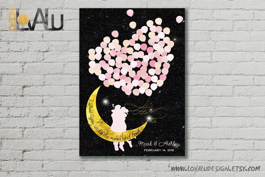 Moon balloon couple guest book i love you under the moon and back wedding guestbook crescent moon guestbook custom wedding personalized pink - LovaluDesign