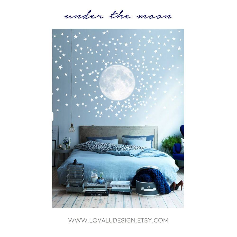 Moon with 300 Stars Wall Decal Peel & Stick - LovaluDesign
