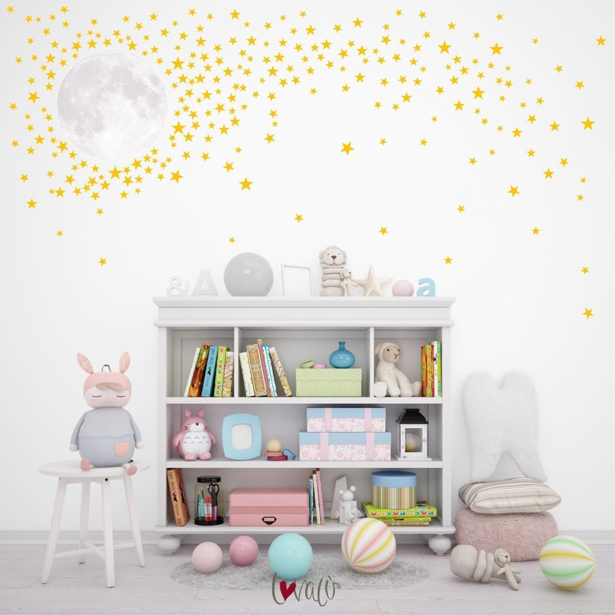Moon with colored Stars Wall Decal for Nursery Rooms - Peel & Stick - LovaluDesign